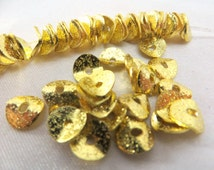 22k Gold Electroplate 6mm Potato Chip Jewelry Beads - 25 spacer beads or choose your quantity