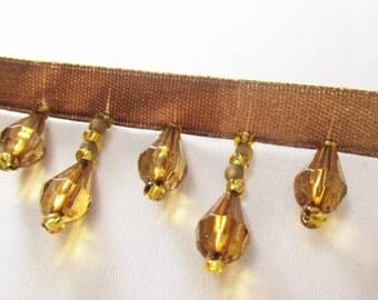 Cocoa Brown and Gold Short Beaded Fringe Trim, Lamp Trim, Beaded Decorator Trim