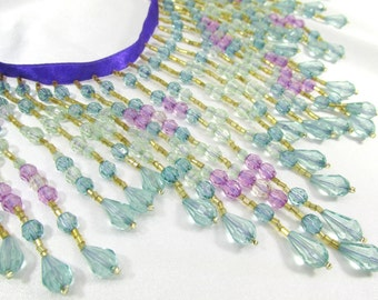 Beaded Fringe Trim in Light Teal, Aqua and Lavender Graduated 5.25 inch long Beaded Fringing or Decorator Trim