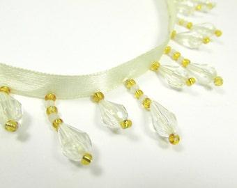 Ivory and Gold Short Beaded Fringe Trim with Alternating Length Acrylic Teardrop Beaded Decorator Trim