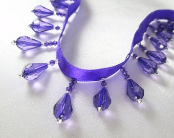 Purple and Silver Short Beaded Fringe Trim Alternating Faceted Teardrop Beaded Decorator Trim