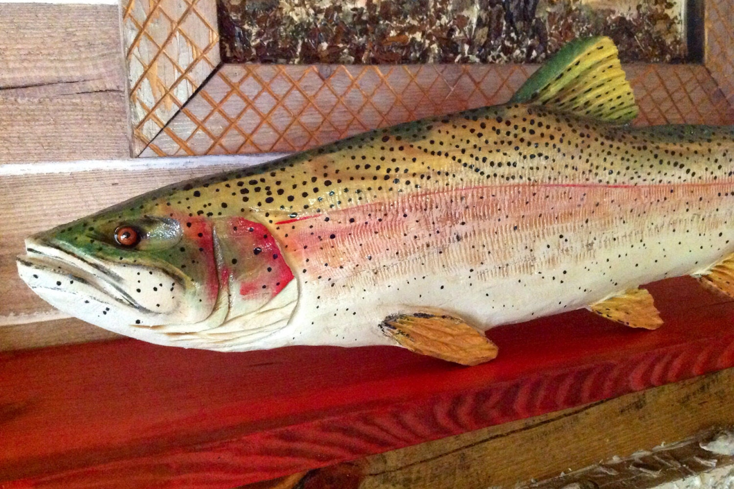 Rainbow trout ft chainsaw wooden carving fish