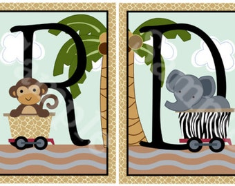 Unframed Jungle/Safari Express/Animals Letter Art  5x7inch  Nursery Art Prints