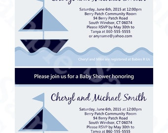 """Printable """"Nautical Sailboat/Navy Boats"""" Baby Shower 5x7 inch Invitation Editable PDF Instant Download U Print Yourself"""