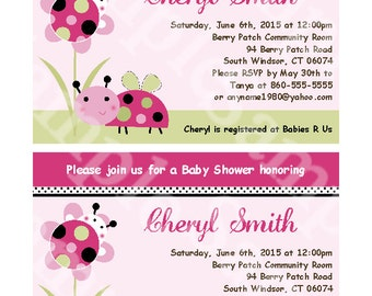 Printable Lil Ladybug and Flower Baby Shower 5x7 inch Invitation Editable PDF Instant Download