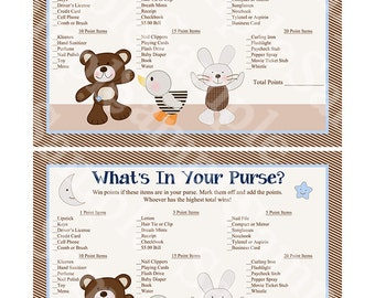 Printable B is for Bear/Teddy Bear Baby Shower What's in Your Purse Game Instant Download