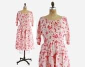 50s Pink & White FLORAL DRESS / Vintage 1950s Silk Day Dress M