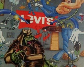 Vintage 80's LEVI'S Poster 1980's denim blue jeans