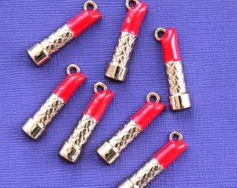 2 Lipstick Charms Large Size Gold Plated Enamel Fun and Colorful E27