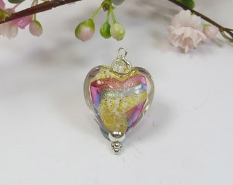 Venetian Murano Glass Heart Pendant, Rose Periwinkle Blue Stripe Heart with 24kt Goldfoil Inside, Swarovski Stering Murano Heart Pendant