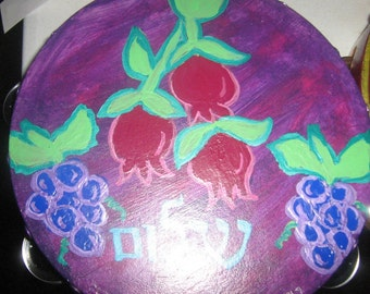 "Pomegranate Shalom 8""inch Tambourine"