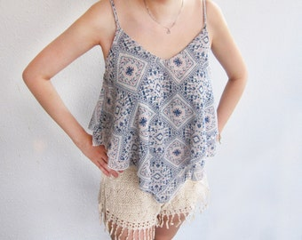 Women's Top Moroccan Strappy Indian Tunic Vest Aztec Blue Swing Flowy Soft Coachella Hippie Gypsy Tribal Hipster Fretwork Pattern Layered