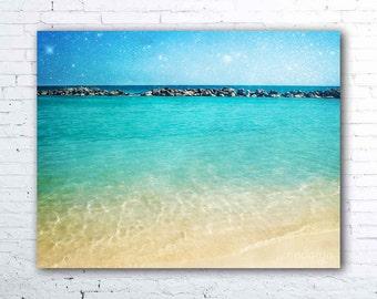 Blue Curaçao - Fine Art Photograph, caribbean sea photo, cabana beach willemstad curacao, tropical ocean decor, turquoise, aqua ocean water