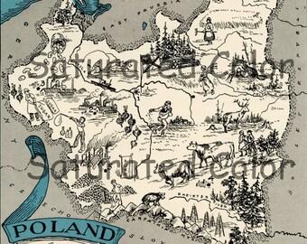 Poland Map ORIGINAL 1932 Vintage Picture Map Geography - Pictorial Fun Charming Antique Paul Spener Johst Whimsical Pozman Lemburg Warsaw