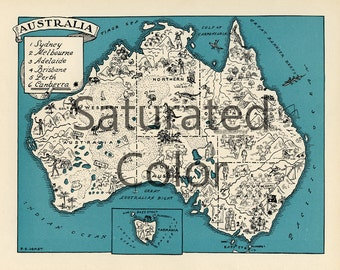 AUSTRALIA Map Digital Download vintage picture map - DIY print & frame 8x10 orFor Pillows Totes Cards Wedding Paul Spener Johst Charming