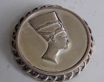 Vintage brooch, Egyptian Revival brooch, Queen Nefertiti brooch, silver brooch, vintage jewelry