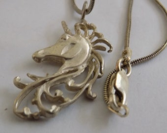 Vintage pendant, sterling silver 925 fancy unicorn pendant and chain, fantasy jewelry