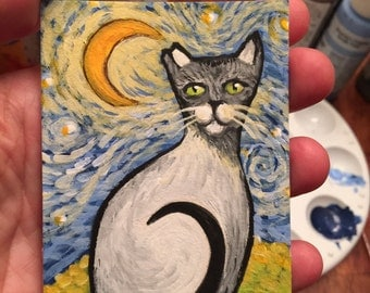 ACEO Original painting Van Gogh Cat Whimsical impressionist Portrait by Starlu