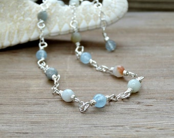 Ocean Agate and Aqua Marine, Pale Blue Anklet, Dainty Sterling Silver Ankle Chain