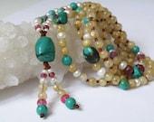 Golden Rutilated Quartz gemstone necklace - Tassel - red Ruby - Tibetan Turquoise - Freshwater Pearls - Tribal Jewelry - Yoga mala