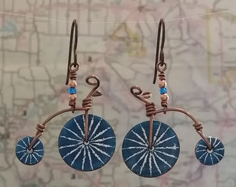 Old Fashion Bike Enameled Earrings - Custom Colors - Made to Order