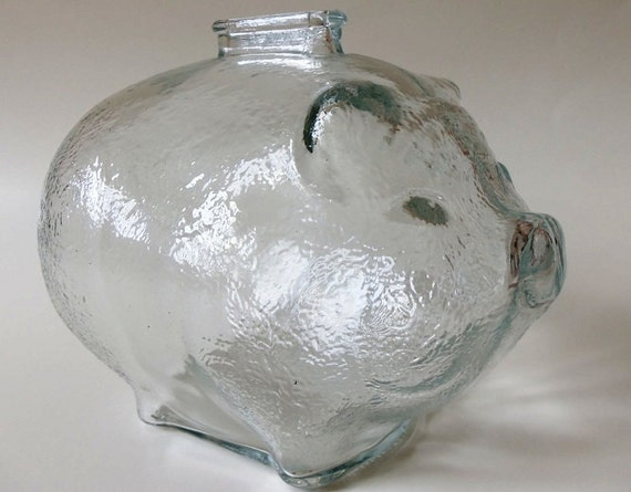 Vintage Clear Pressed Glass Piggy Bank Anchor Hocking Large