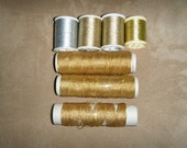 7 Spools Metallic Thread Embroidery Sewing 6 Gold 1 Silver