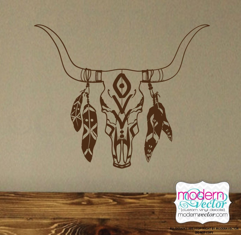 BoHo Bull Skull with Feathers Vinyl Wall Decal Bohemian Theme