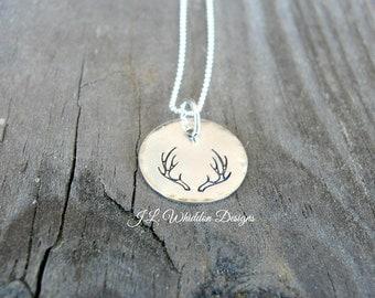Deer Antlers Necklace, Antlers Necklace, Sterling Silver Deer Antlers Necklace, Hunter's Gift