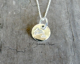 Dolphin Necklace, Sterling Silver Dolphin Necklace, Silver Dolphin Necklace, Minimal Necklace, Sterling Silver Necklace