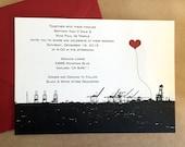 Oakland Many Cranes Custom Wedding Invitation