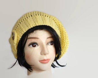 Knit Slouchy Beanie, Knit Slouchy Hat, Yellow Beanie, Yellow Hat, Spring Hat