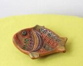 Vintage Handmade Spanish Pottery Fish Ashtray From The Convento Jesus Maria Aracena