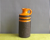 Vintage East German Pottery Handled Vase by VEB Haldensleben in Orange and Brown