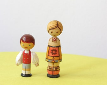 Vintage Estonian Folk Art Handpainted Salvo Figurines Dolls
