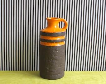 Vintage East German Pottery Handled Vase by VEB Haldensleben in Orange and Brown