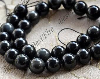 Single 12mm Black obsidian round stone beads,obsidian stone beads,gemstone beads loose strand 15 inch