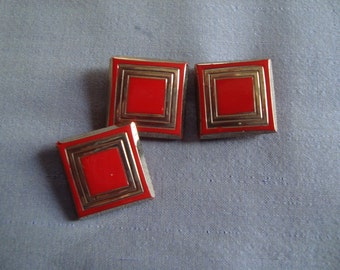 Red Glass Buttons - Square Button - Art Deco Style