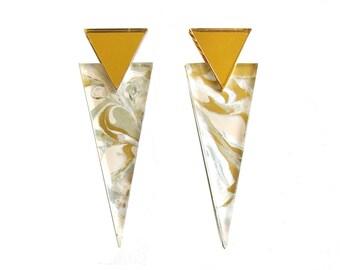 PINNACLE Statement Earrings in Pearl - Marble Jewelry, Marble Earrings, Geometric Earrings, Triangle Earrings, 90s Jewelry, Pyramid Earrings