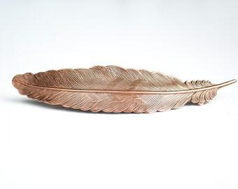 Copper Feather Barrette Large Antiqued Copper Hair Piece