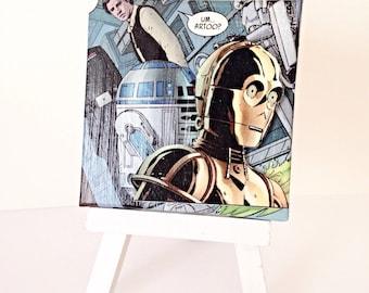 C3PO Comic Collage, Star Wars Canvas Art--3x3 inches Miniature Canvas