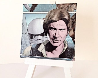 Han Solo Comic Collage, Star Wars Canvas Art--3x3 inches Miniature Canvas