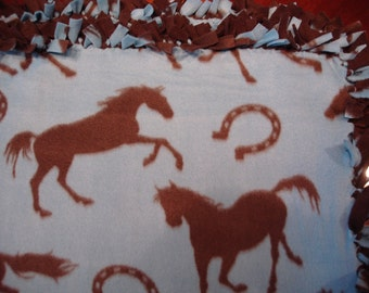 Brown Horses and Horseshoes tied Fleece Blanket
