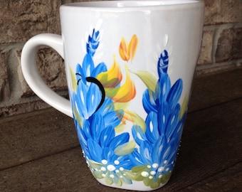 Hand Painted Texas Bluebonnet Coffee Mug
