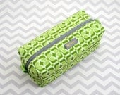 Small Box Bag, Cosmetic Bag or Pencil Case - Green