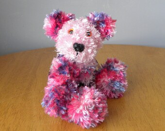Hand Knitted Teddy for Collectors - Pink Knitted Bear - 8 inches