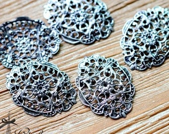 Antiqued Silver  plated RAW brass Filigree  Jewelry Connectors Setting Cab Base Connector Finding  (FILIG-AS-28)