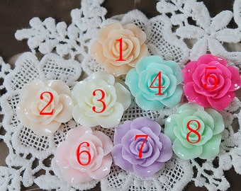 10pcs 20mm New Beautiful  Mix Colorful Rose Flower Resin Cabochon  -9colors-20mm(CAB-EF-MIXSS)