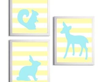 Woodland Nursery Art, Yellow Blue Boy Nursery Art, Forest Nursery Woodland Wall Decor Art, Nursery Yellow Deer Forest Wall Art Set of 3