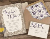 Rustic Chic Couture Lace and Calligraphy Laser Cut Invitation Set  by Luckyladypaper - CUSTOM CARD ORDER
